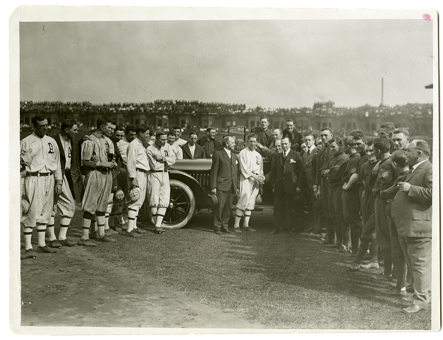Eddie Collins accepts the Chalmers Car (the de facto Most Valuable Player Award) at Opening Game of the 1914 World Series at Shibe Park in Philadelphia on October 9. (Paul Thompson/National Baseball Hall of Fame and Museum)