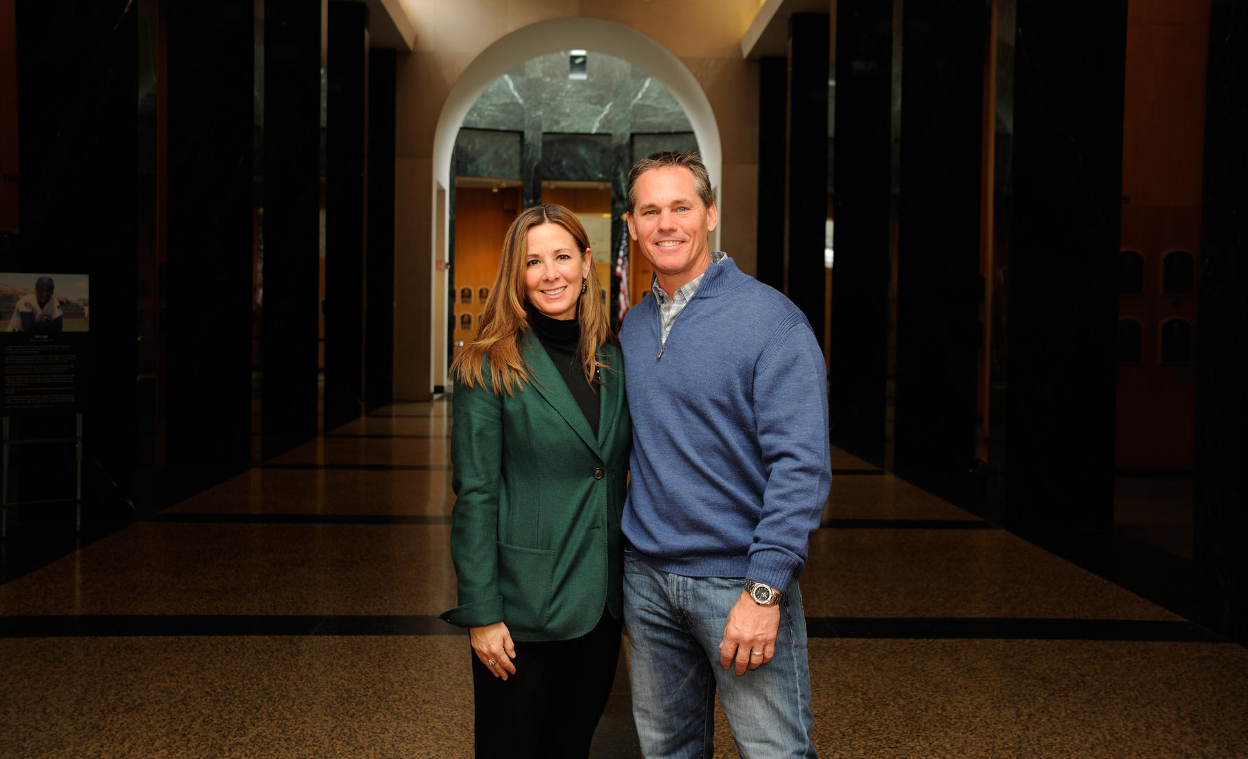 Craig and Patty Biggio pause for a moment in the Hall of Fame's Plaque Gallery during Craig Biggio's Hall of Fame Orientation Visit on Friday, Jan. 30 in Cooperstown. (Milo Stewart Jr./National Baseball Hall of Fame)