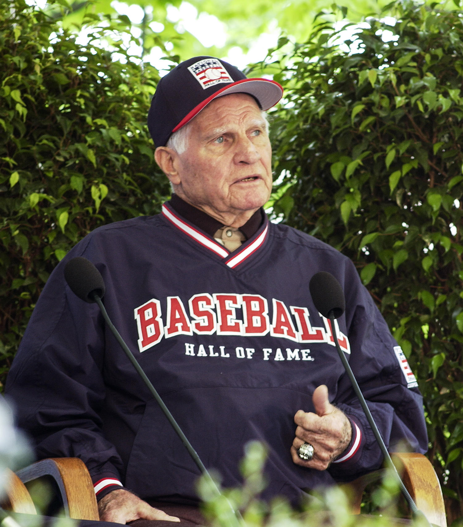 Hall of Famer Bobby Doerr, pictured above at the Baseball Hall of Fame in 2005. (By Photographer Milo Stewart Jr./National Baseball Hall of Fame and Museum)