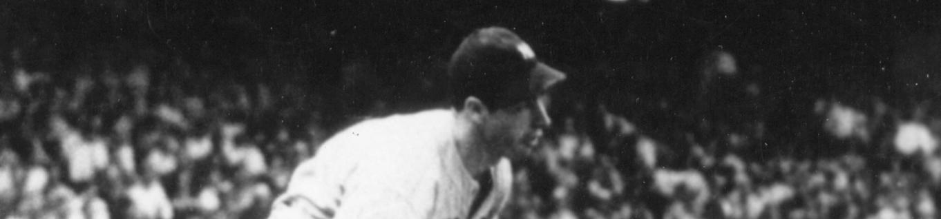 Joe DiMaggio, New York Yankees, hitting in his 56th consecutive game, Cleveland, July 16, 1941 - detail from BL-5595-95 (National Baseball Hall of Fame Library)