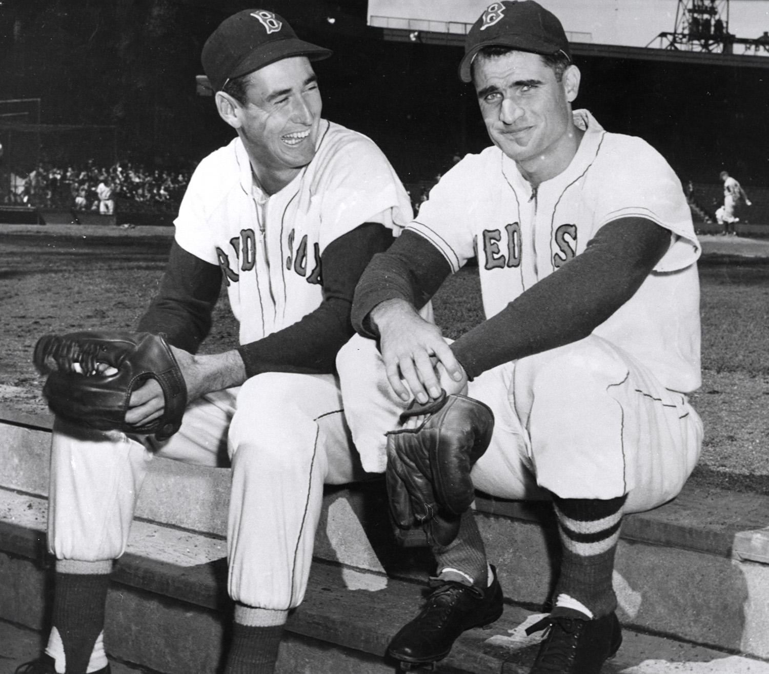 "Ted Williams (left) and Bobby Doerr became very close during their time as teammates on the Boston Red Sox. Williams referred to Doerr as the ""Silent Captain"" of the team. (National Baseball Hall of Fame and Museum)"