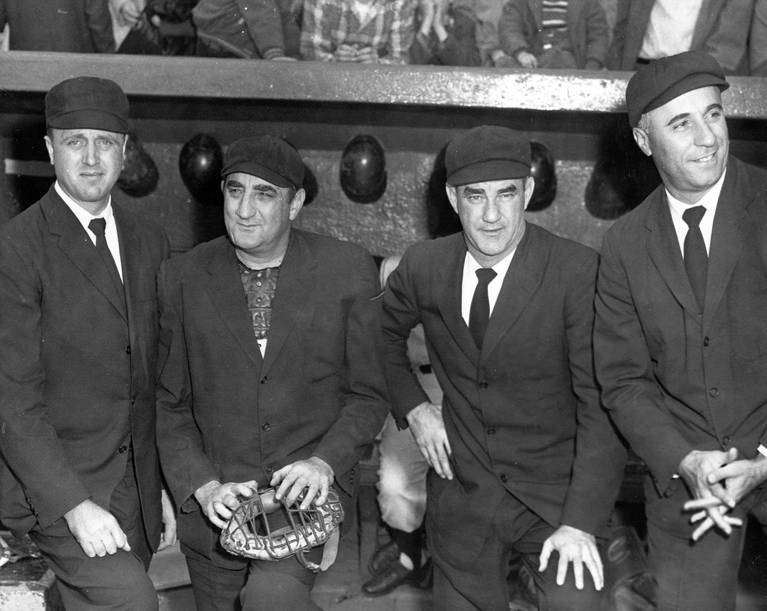 Augie Donatelli (far right) pictured with umpires Ed Sudol, Vic Delmore and Vinnie Smith. Smith served in the Navy in World War II, while Donatelli served in the Air Force. (National Baseball Hall of Fame)