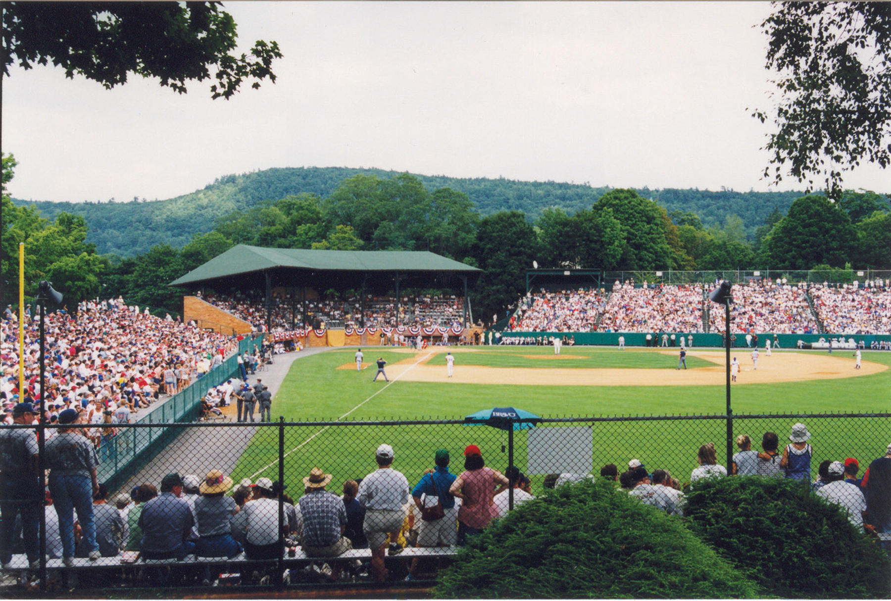 Each year, thousands of baseball fans fill the stands at Cooperstown's Doubleday Field to watch their favorite past and present major league players participate in an exhibition game. Doubleday hosted the Hall of Fame Game from 1939-2008, followed by the Hall of Fame Classic from 2009-present (Milo Stewart, Jr. / National Baseball Hall of Fame)