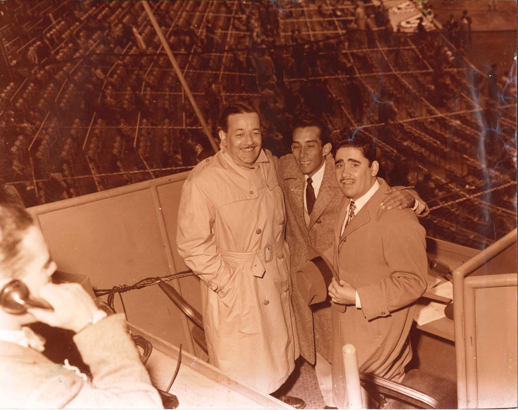 Felo Ramírez (pictured far right) began his broadcasting career in 1945 calling games in Havana, Cuba. He did play-by-play for Cuban Winter League games until the early 1960s. (National Baseball Hall of Fame and Museum)