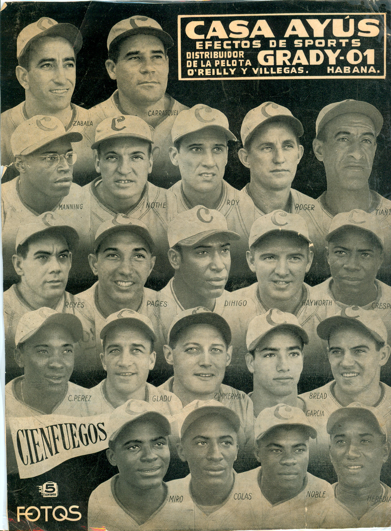 Cristóbal Torriente heralded from the town of Cienfuegos, which was famous for breeding future baseball stars. Cienfuegos was a sugar mill town and had teams associated with the mills which would compete against each other. Above is an advertisement for one of those teams, now in the Hall of Fame's collection. (National Baseball Hall of Fame)