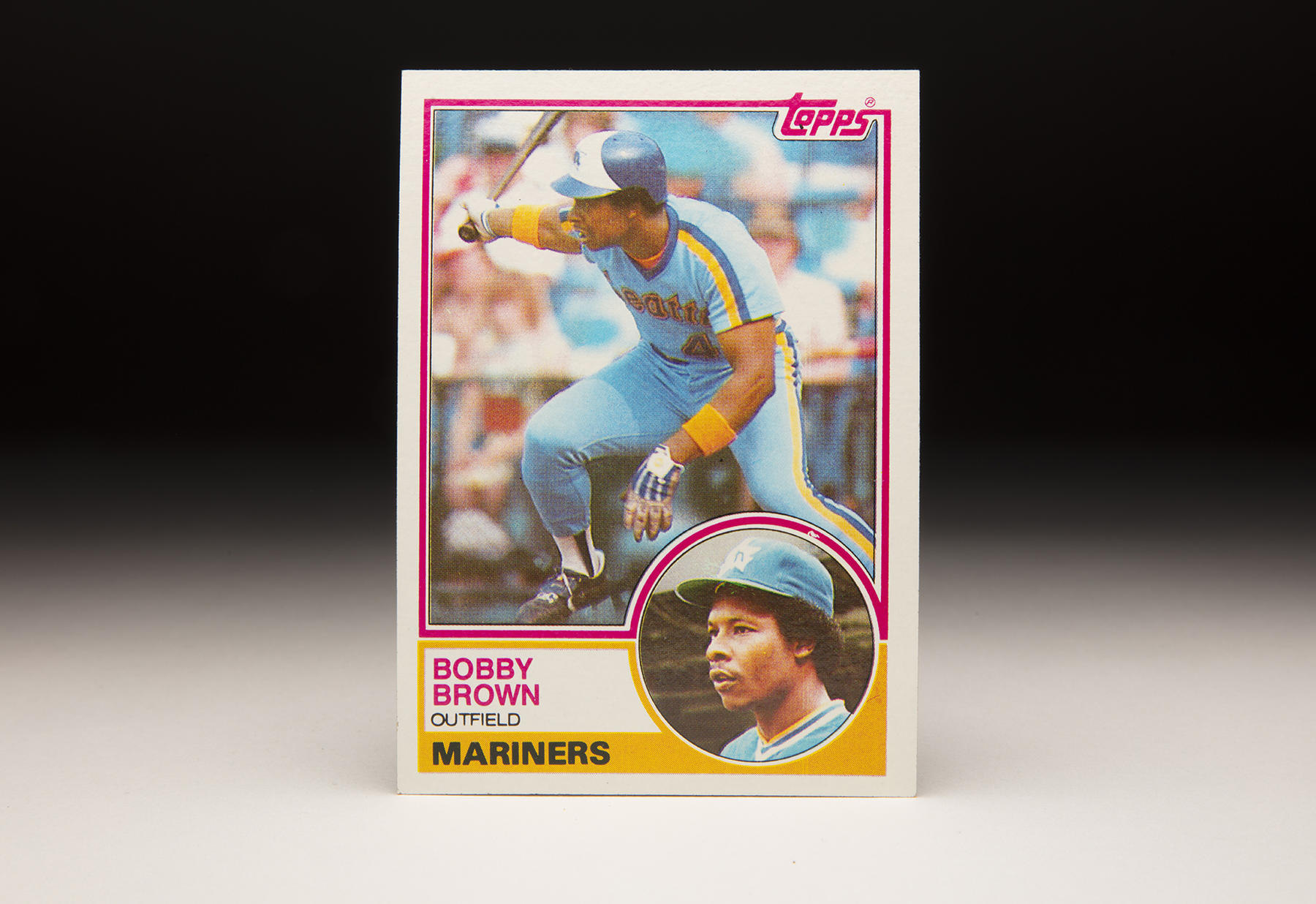 Bobby Brown spent seven seasons in the big leagues, including the 1982 campaign with the Mariners where he was captured in this action shot for the 1983 Topps set. (Milo Stewart Jr./National Baseball Hall of Fame and Museum)