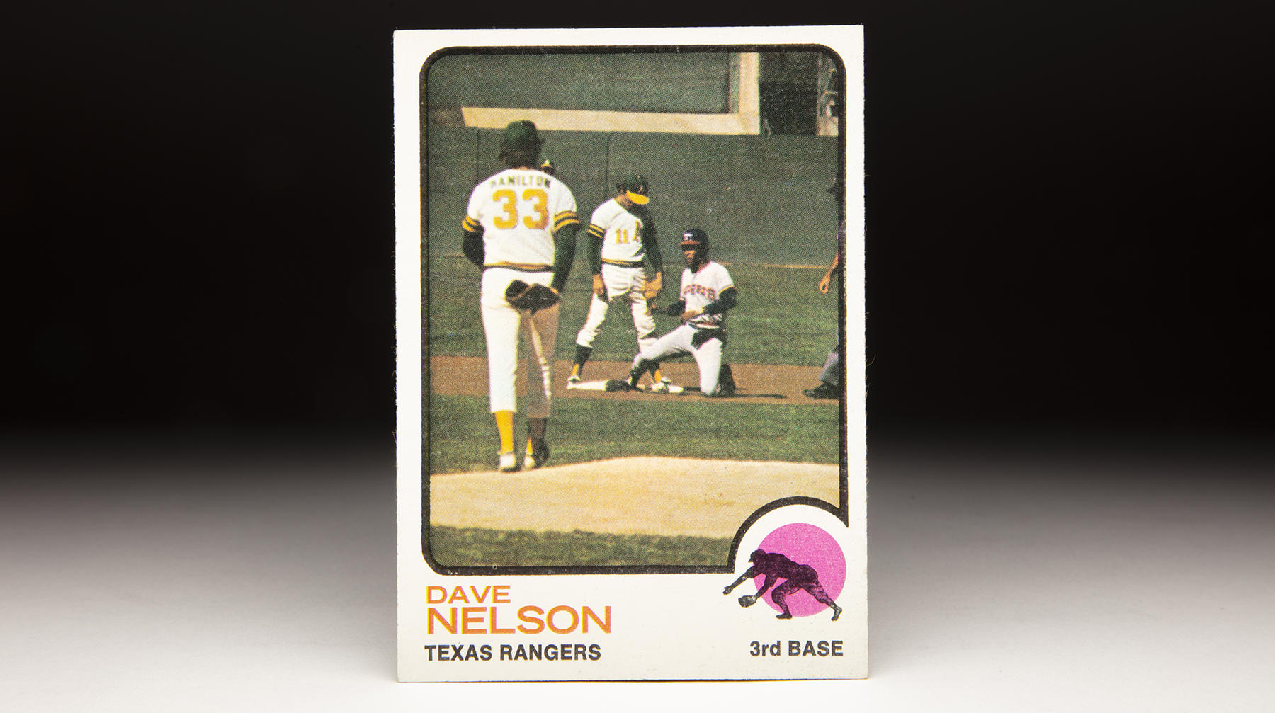 Dave Nelson's 1973 Topps card features an action shot of Nelson playing against the Oakland A's. (Milo Stewart Jr./National Baseball Hall of Fame and Museum)