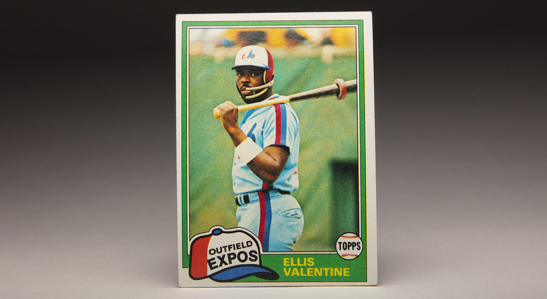 Ellis Valentine's 1981 Topps card featured a photo of the Expos' outfielder with a face guard attached to his batting helmet. Valentine was hit on the face with a pitch early in the 1980 season. (Milo Stewart Jr./National Baseball Hall of Fame and Museum)