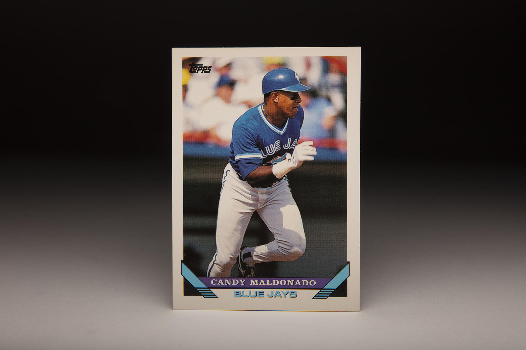 Candy Maldonado's 1993 Topps card shows him in action with the Blue Jays. In 1993, Maldonado helped Toronto win its first World Series title. (Milo Stewart Jr./National Baseball Hall of Fame and Museum)