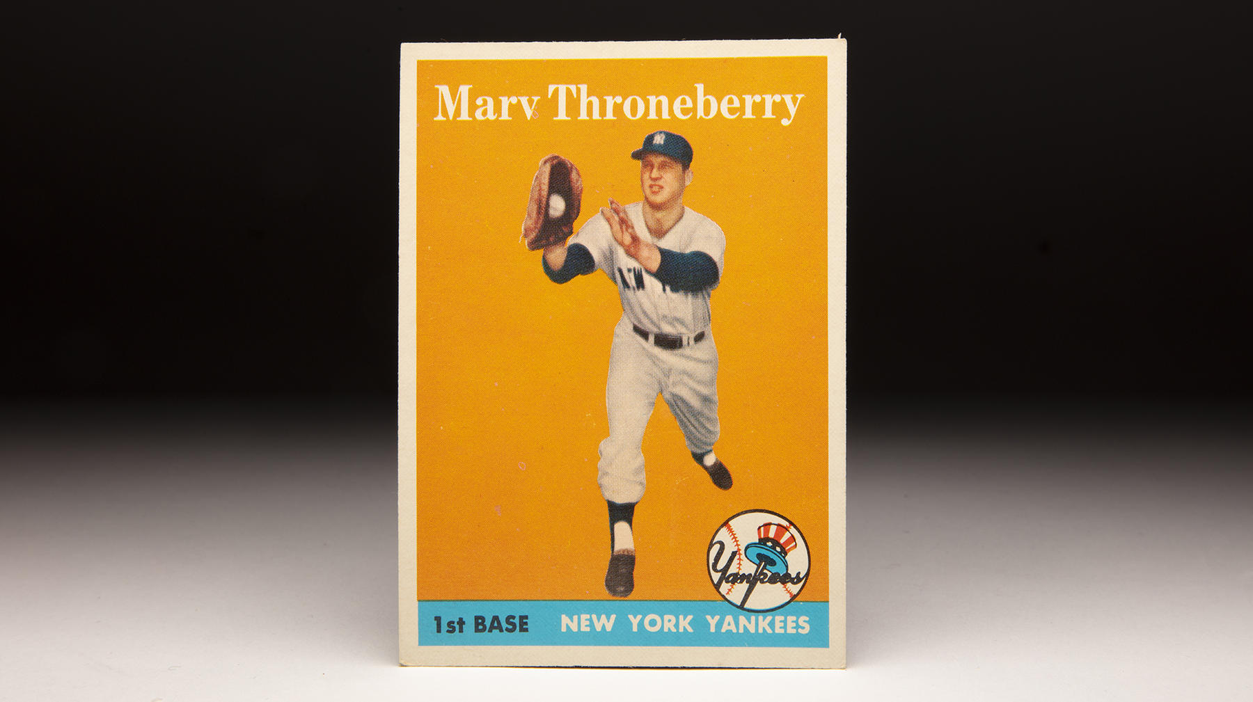 Marv Throneberry played in seven big league seasons with the Yankees, Athletics, Orioles and Mets, primarily as a first baseman. His 1958 Topps card depicts him as a member of the Yankees. (Milo Stewart Jr./National Baseball Hall of Fame and Museum)