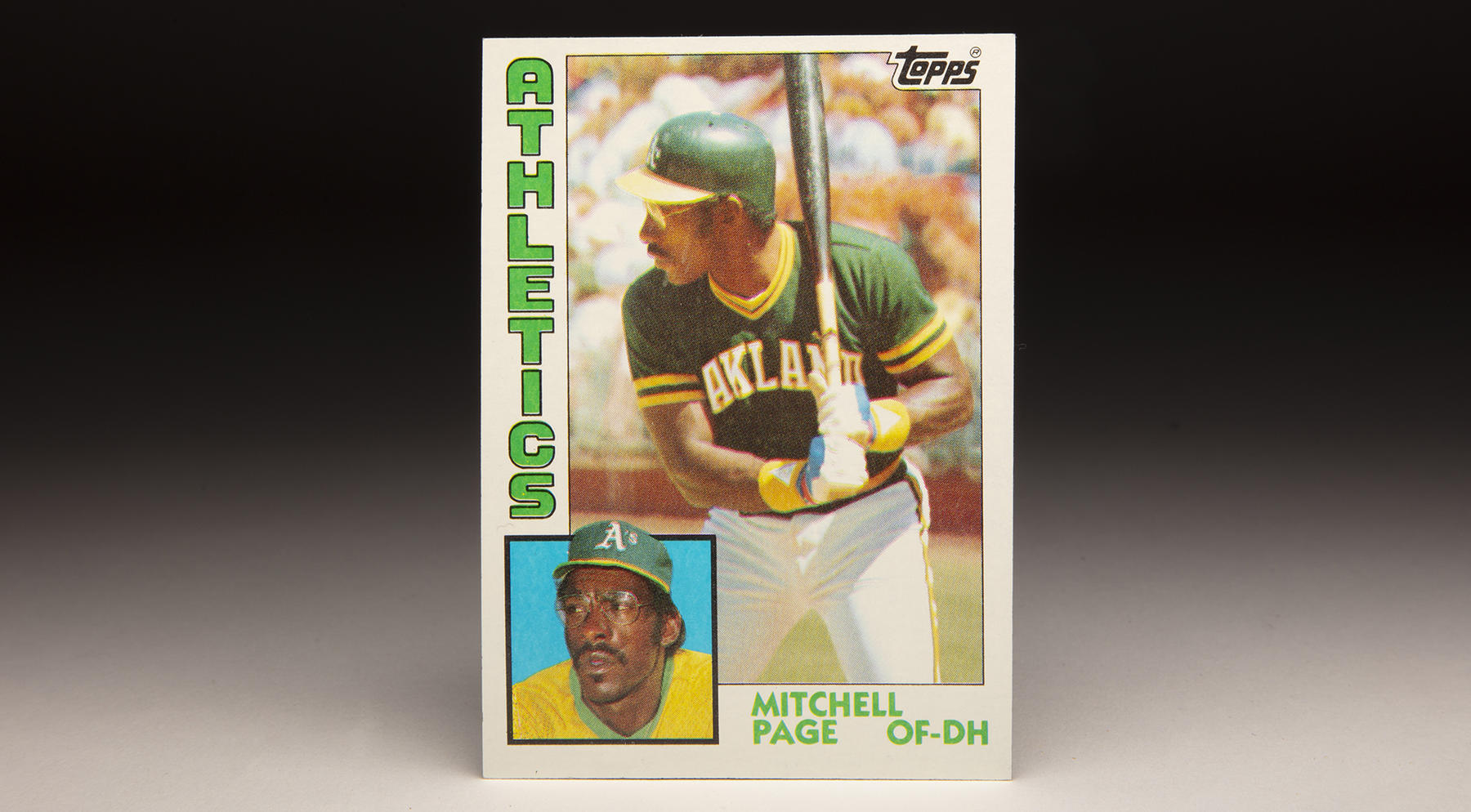 Mitchell Page's 1984 Topps card featured the Athletics' slugger in his classic left-handed stance. (Topps baseball card photographed by Milo Stewart Jr./National Baseball Hall of Fame and Museum)