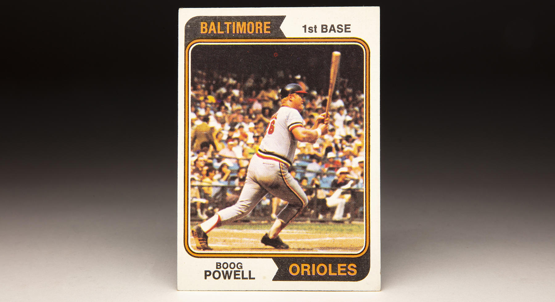 Boog Powell's 1974 Topps card highlights his powerful left-handed swing that resulted in 339 home runs over 17 big league seasons. (Milo Stewart Jr./National Baseball Hall of Fame and Museum)