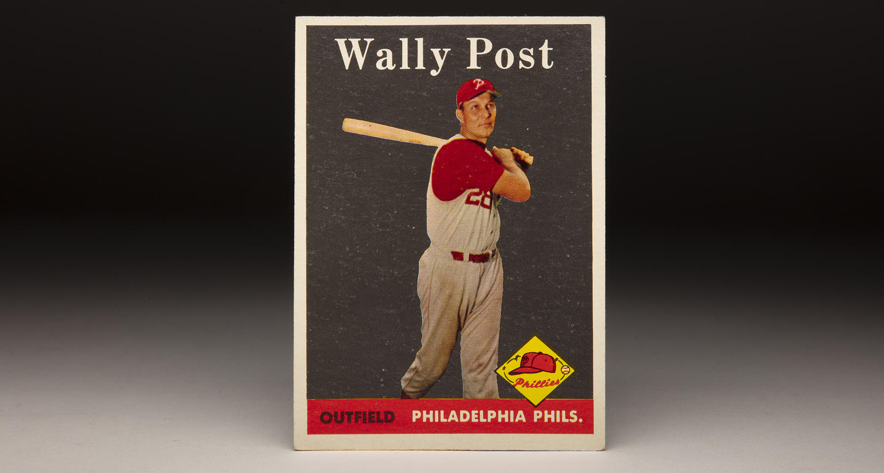 Wally Post's 1958 Topps card features a photograph taken when he was a member of the Cincinnati Reds. (Milo Stewart Jr./National Baseball Hall of Fame and Museum)