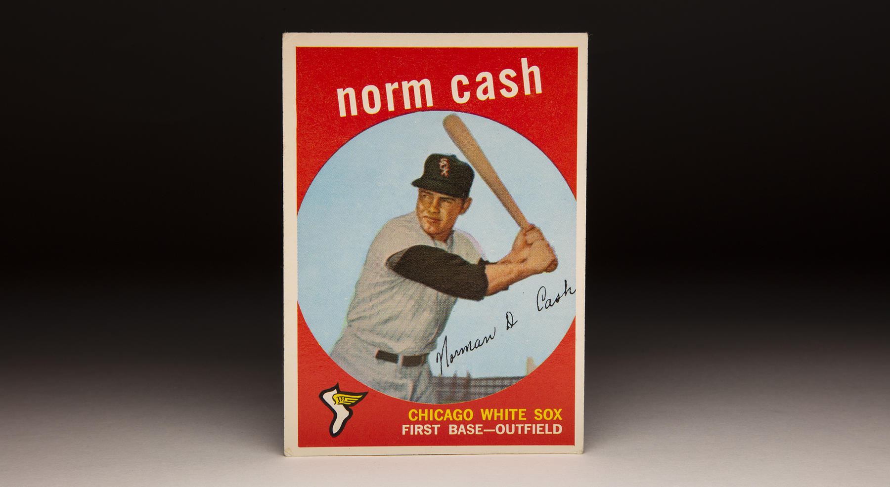 Norm Cash's 1959 card depicts him as a member of the Chicago White Sox. Cash spent two seasons with the White Sox, helping them to the 1959 American League pennant. (Topps baseball card photographed by Milo Stewart Jr./National Baseball Hall of Fame and Museum)