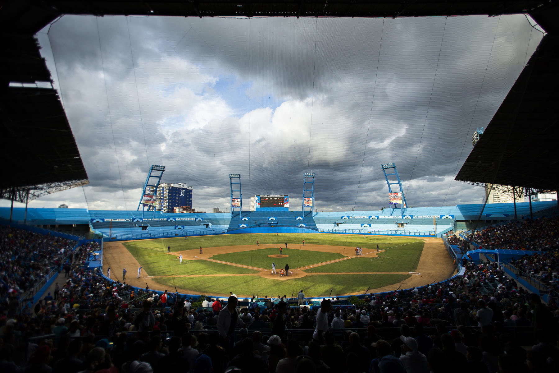 Fans fill the stadium during a game between Villa Clara and the Industriales at the Estadio Latinoamericano on January 18, 2014 in Havana, Cuba. The stadium, formerly known as Gran Estadio de La Habana, was built in 1946 and played host to legendary Cuban Winter League games throughout the 1950s. (Jean Fruth / National Baseball Hall of Fame)