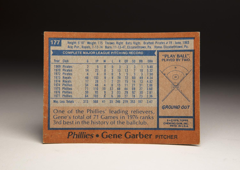 The reverse side of Gene Garber's 1978 Topps card. (Milo Stewart Jr. / National Baseball Hall of Fame and Museum)