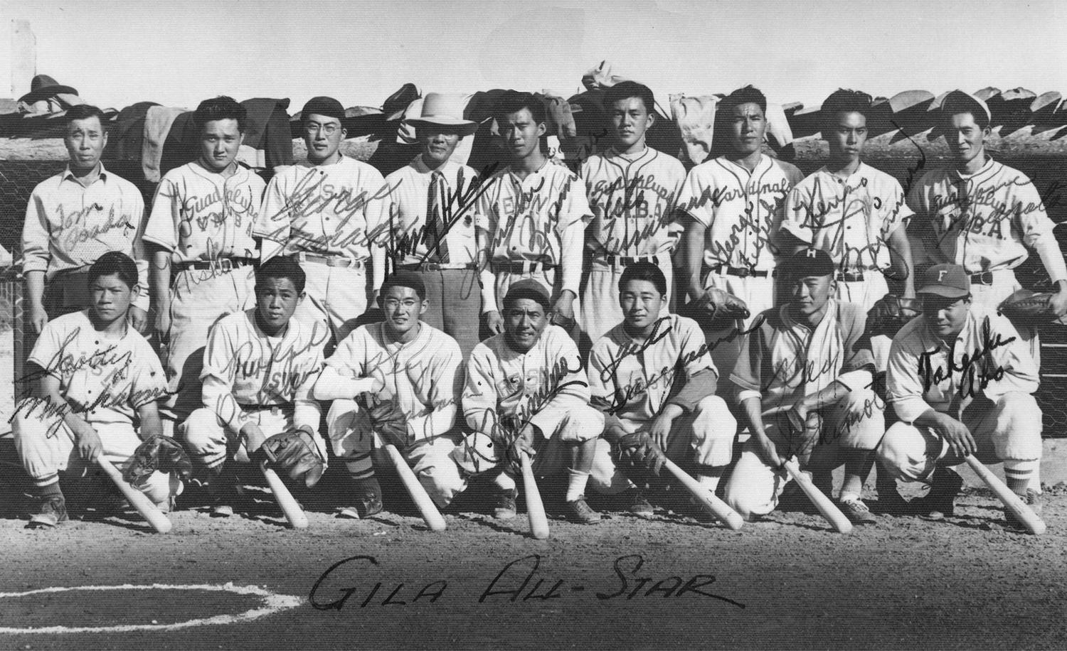 Kenichi Zenimura's 32-team league divided players by skill level. Pictured above, are his Gila Junior All-Stars, who traveled to an internment camp in Heart Mountain, Wyoming, for an inter-camp series in 1944. (Bill Staples Jr. / Nisei Baseball Research Project)