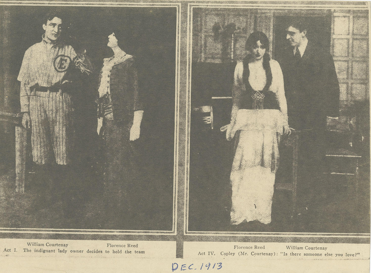 """Actors William Courtenay and Florence Reed (pictured above) performed in """"The Girl and the Pennant"""" in 1913. (National Baseball Hall of Fame and Museum)"""