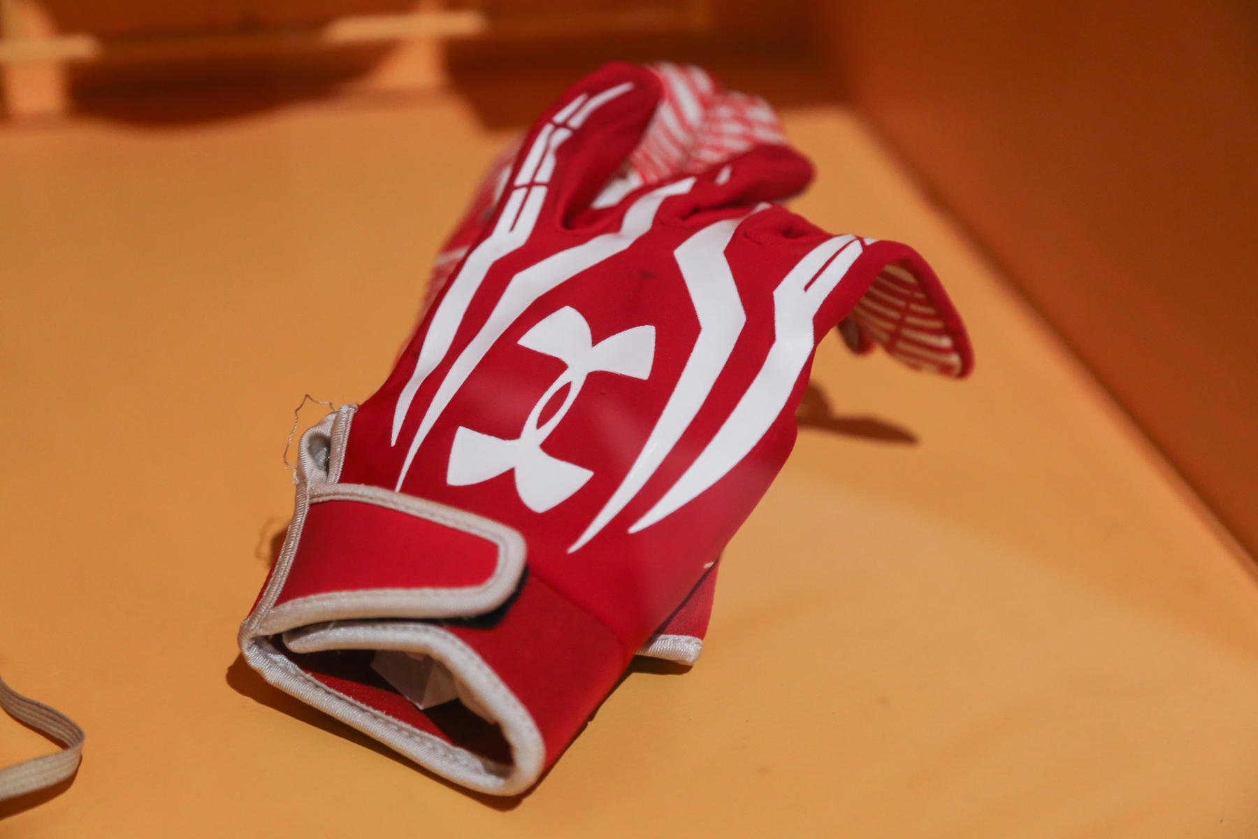 Defense is one of the most challenging aspects of beep baseball. To record an out, the fielder must have possession of the ball in hand and off the ground before the batter reaches base. Brandon Chesser used this glove to record the final out of the 2014 NBBA World Series. B-6-2015 (Parker Fish / National Baseball Hall of Fame)