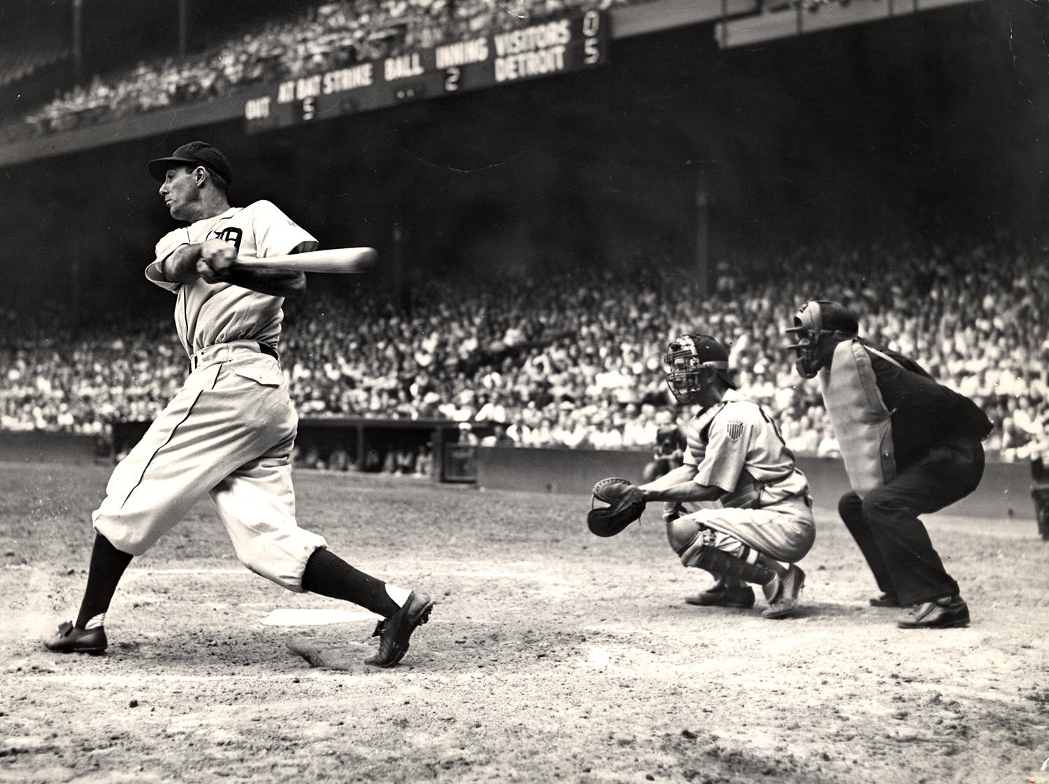 In 1940, the same year Hank Greenberg transitioned from playing at first base to left field, he won the AL MVP Award,  hitting 41 home runs and 50 doubles while driving in 150 runs. (National Baseball Hall of Fame)