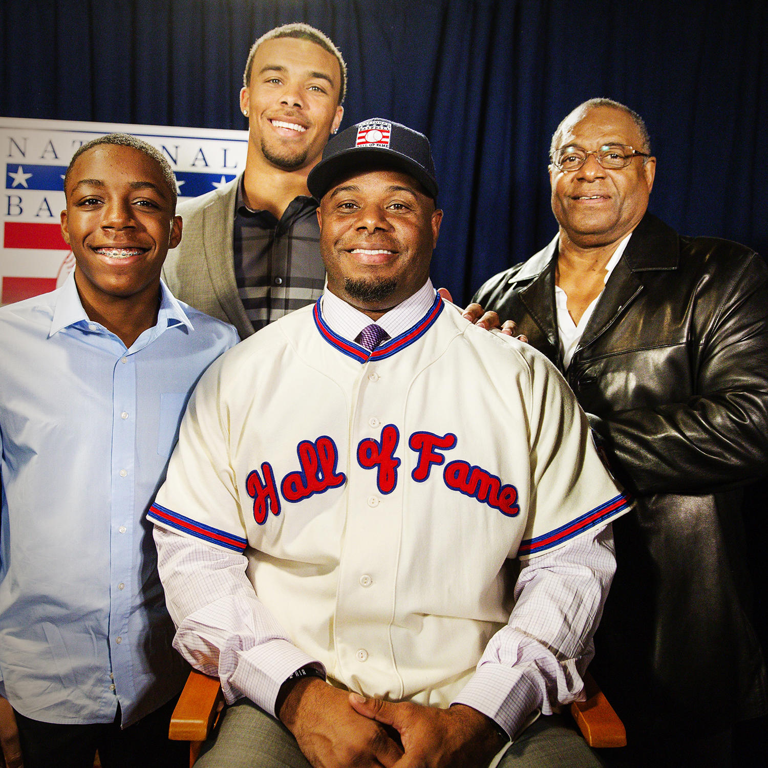 Ken Griffey Jr. is surrounded by his family, including his father, Ken Griffey Sr. (right), and sons Tevin (left) and Trey following his election to the Baseball Hall of Fame in January. (Jean Fruth/National Baseball Hall of Fame)