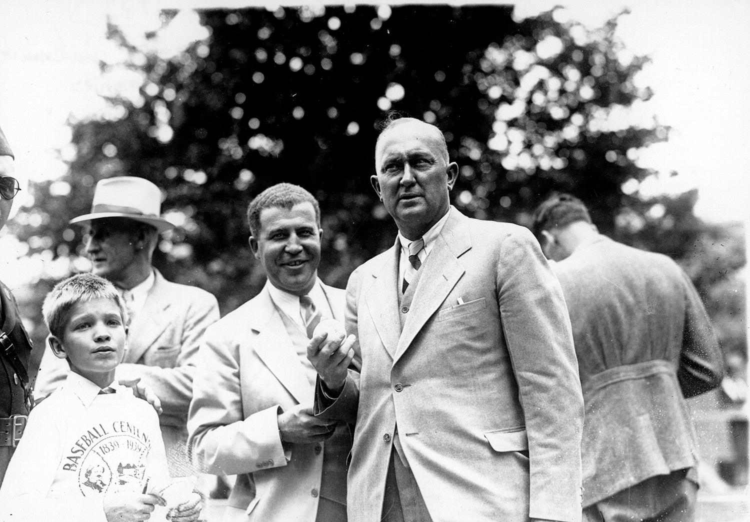 Ty Cobb, pictured above at the first Hall of Fame Induction Ceremony in 1939,  was one of the first five Hall of Famers elected. (National Baseball Hall of Fame)