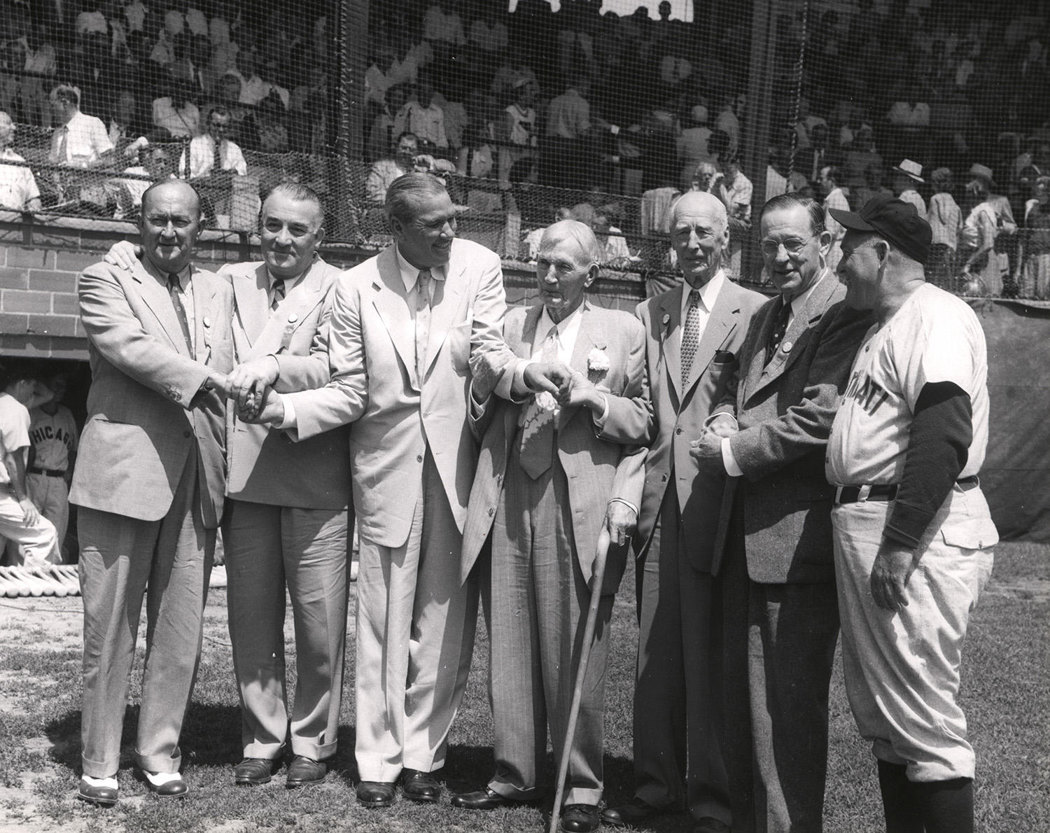 The two new BBWAA-elected Hall of Fame inductees pose with existing members of the Hall of Fame, on Doubleday Field. Picture from left to right, is Ty Cobb, Al Simmons, Dizzy Dean, Cy Young, Connie Mack, Ed Walsh and Rogers Hornsby. (National Baseball Hall of Fame)