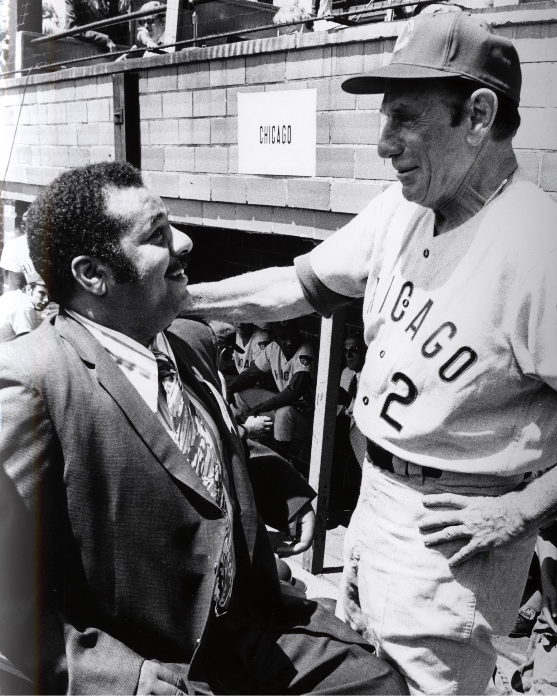 Hall of Famer Roy Campanella chats with future Hall of Famer Leo Durocher before the Hall of Fame Game. (National Baseball Hall of Fame Library)