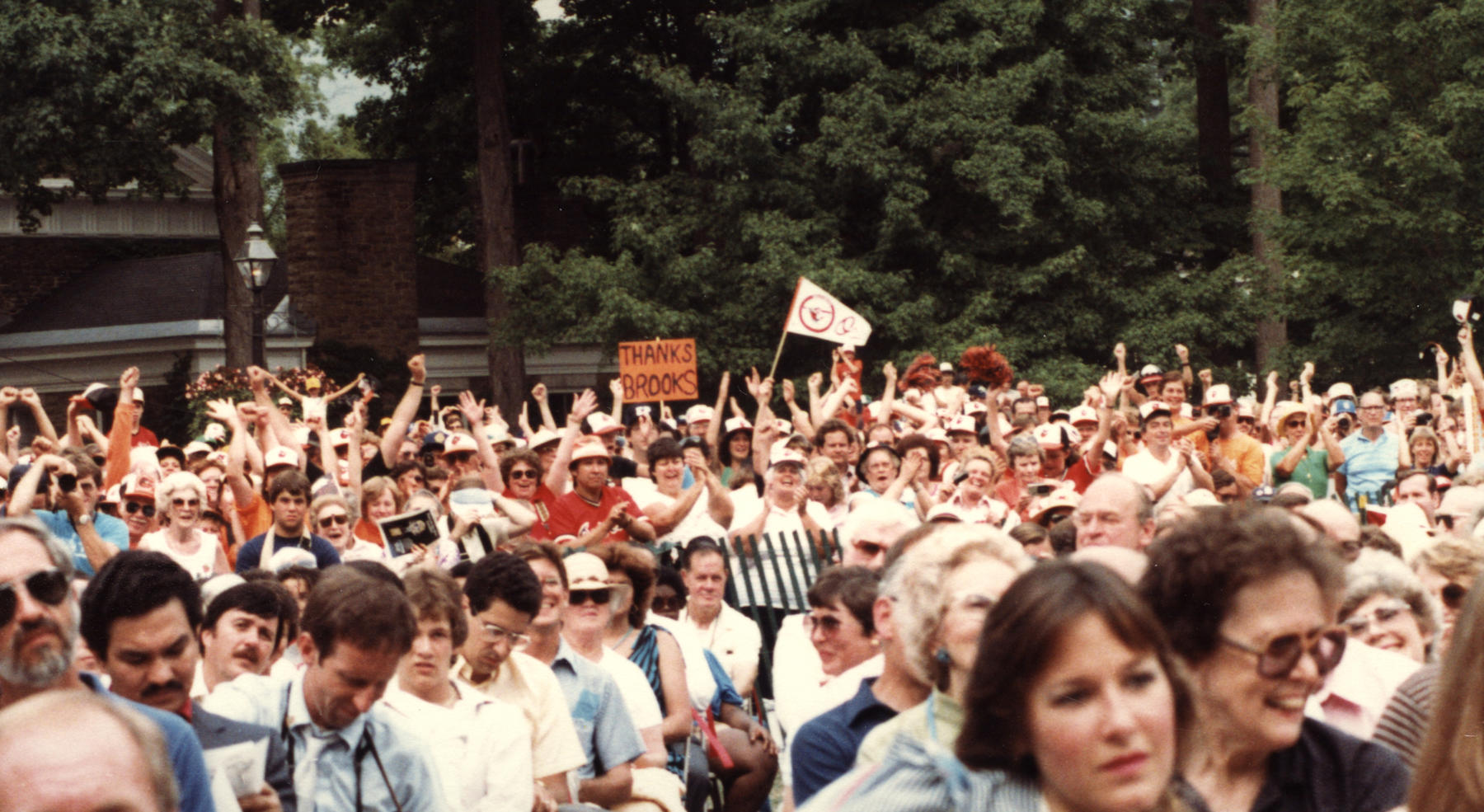Baltimore Orioles fans came out in droves to watch Brooks Robinson be inducted to the Hall of Fame on July 31, 1983. BL-3540-84 (National Baseball Hall of Fame Library)