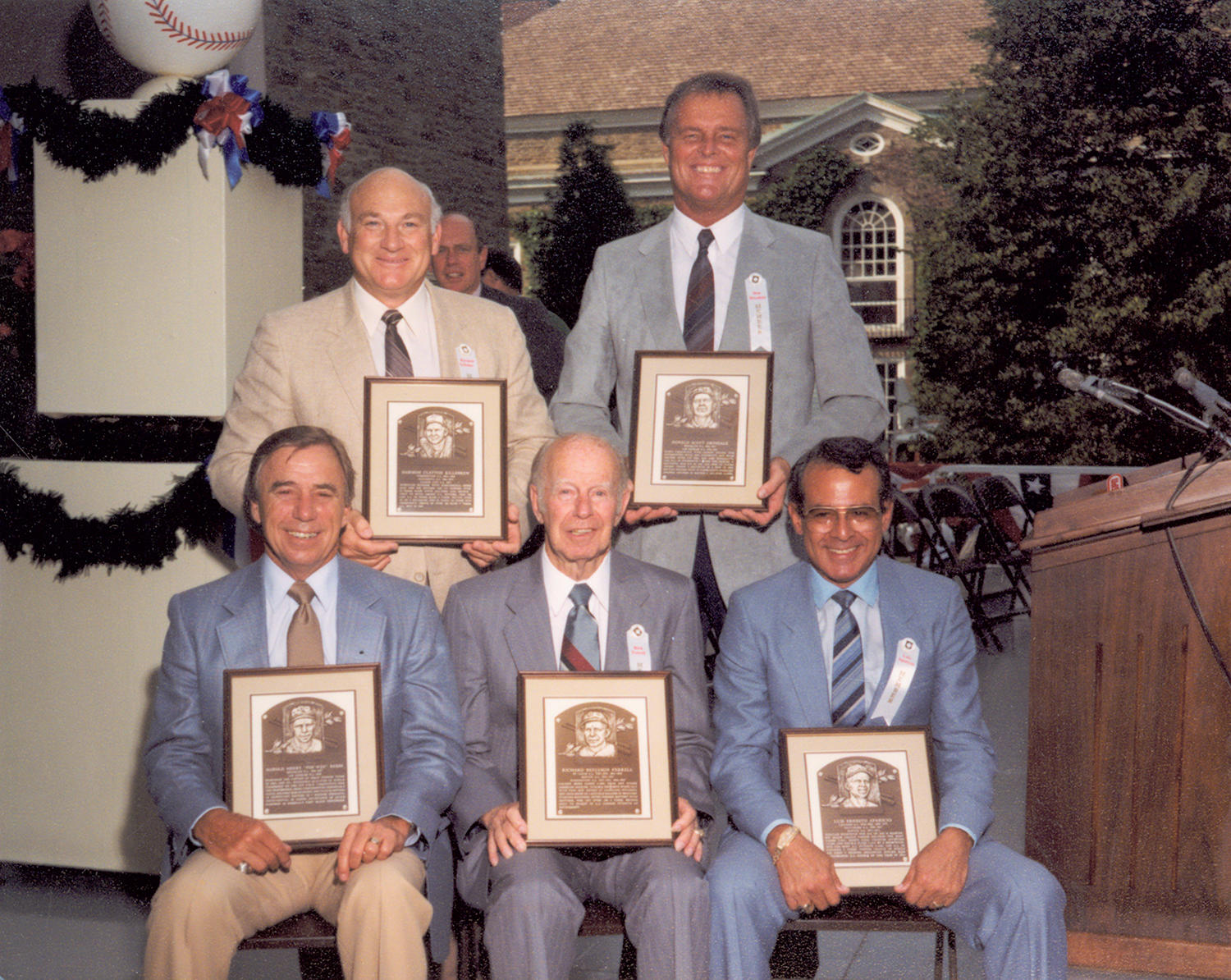With the election of Don Drysdale (pictured above, far right on the top row) and Pee Wee Reese (on the bottom row, to the far left) in 1984, the Brooklyn Dodgers of the 1950s celebrated a reunion in Cooperstown. (National Baseball Hall of Fame and Museum)