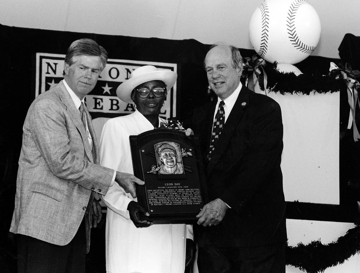 Leon Day was inducted posthumously in to the Hall of Fame in 1995. Pictured above, his wife Geraldine holds his plaque (center) standing alongside former Hall of Fame President Don Marr (left) and former Chairman of the Board Ed Stack. (National Baseball Hall of Fame and Museum)