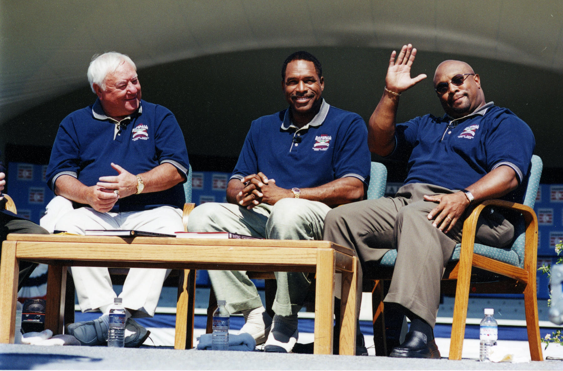 Class of 2001 inductees Bill Mazeroski, Dave Winfield and Kirby Puckett participate in a roundtable discussion during Hall of Fame Weekend in Cooperstown. (National Baseball Hall of Fame Library)
