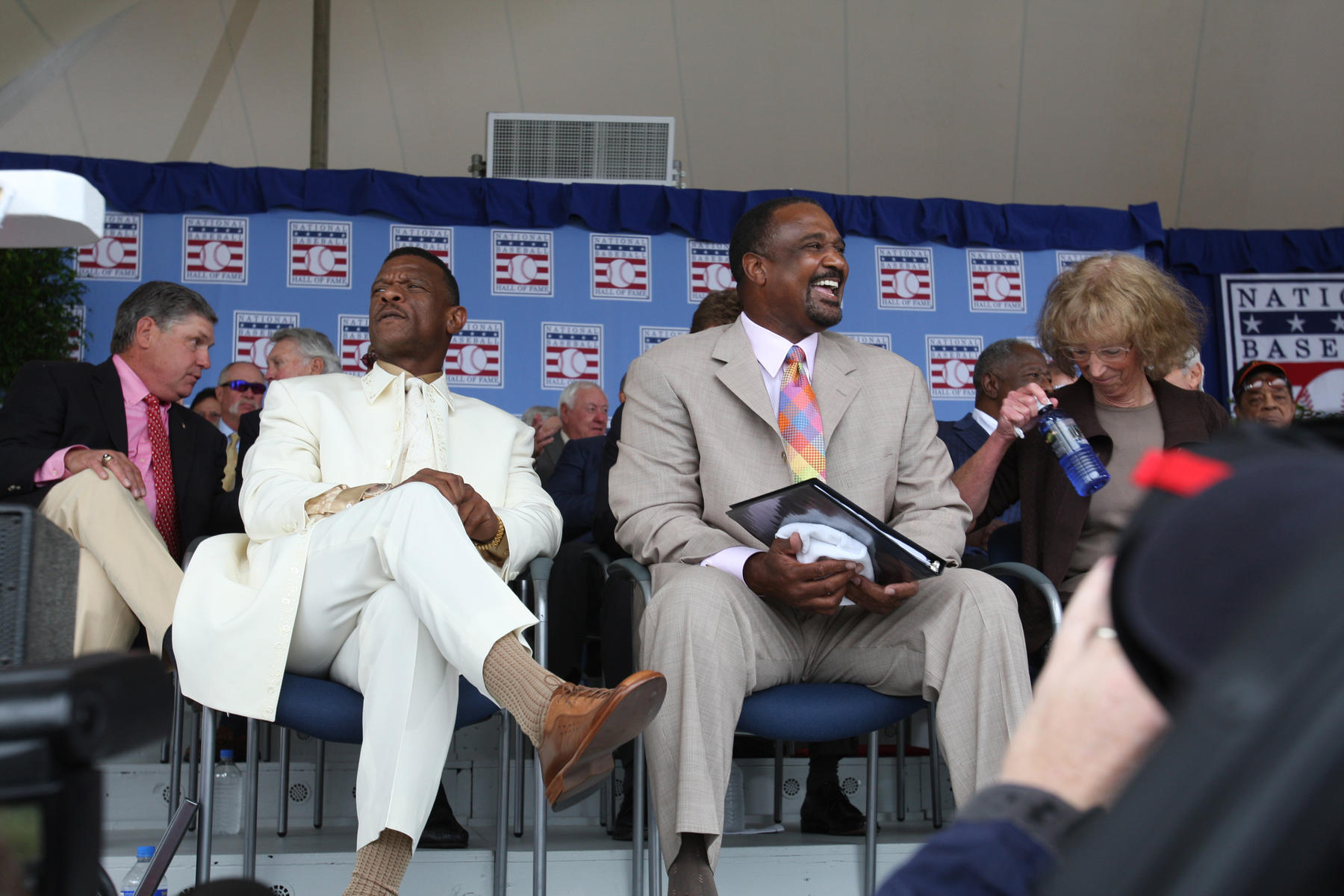Rickey Henderson, Jim Rice and Joe Gordon's daughter, Judy, on stage during the Hall of Fame Induction Ceremony on July 26, 2009. (Bill Greenblatt / National Baseball Hall of Fame Library)