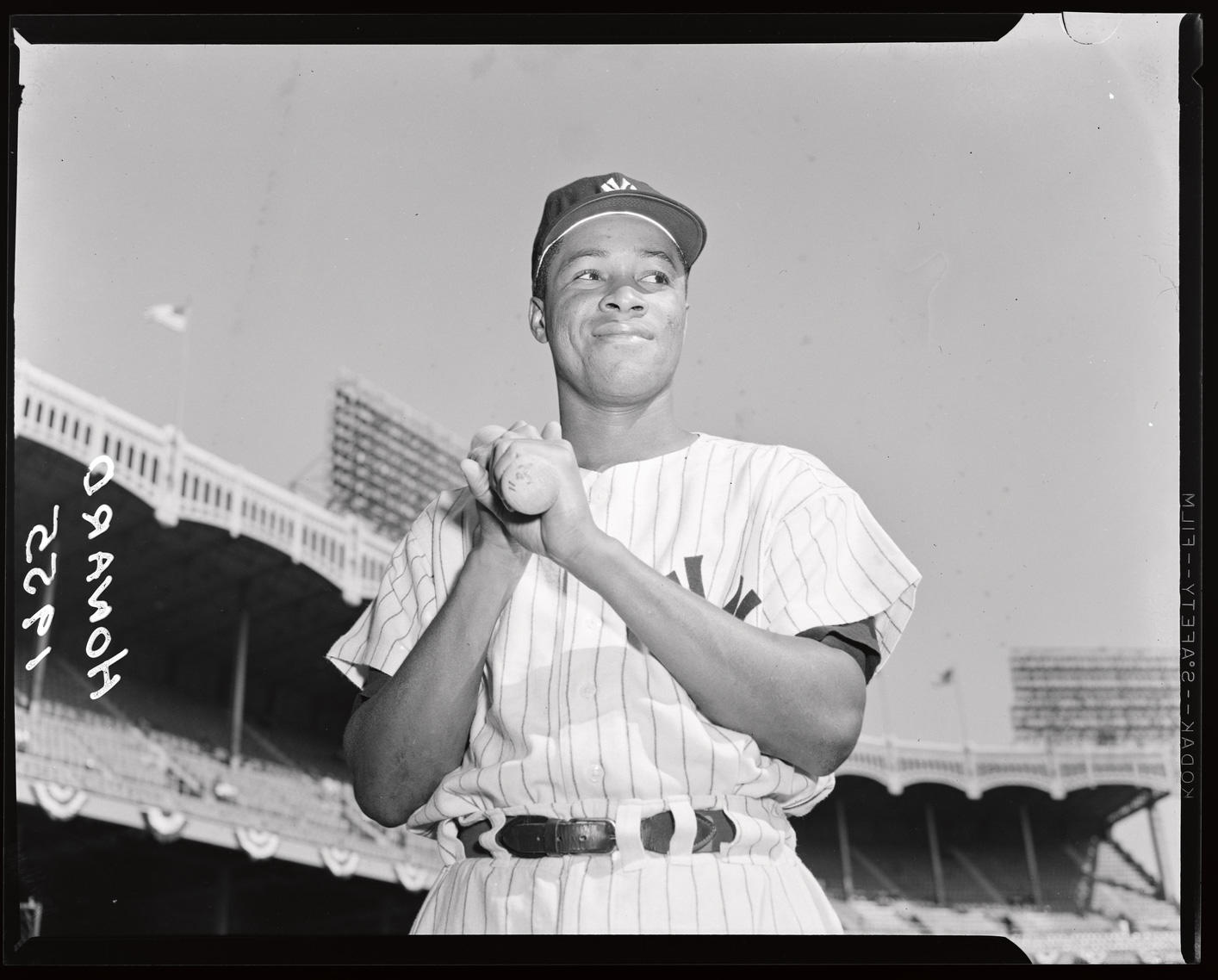 Photographer Osvaldo Salas captured this shot of Elston Howard, posed with his bat at Yankee Stadium in 1955. This image, and more, are now available in the <em>Hall of Fame Digital Archive</em>. (National Baseball Hall of Fame)