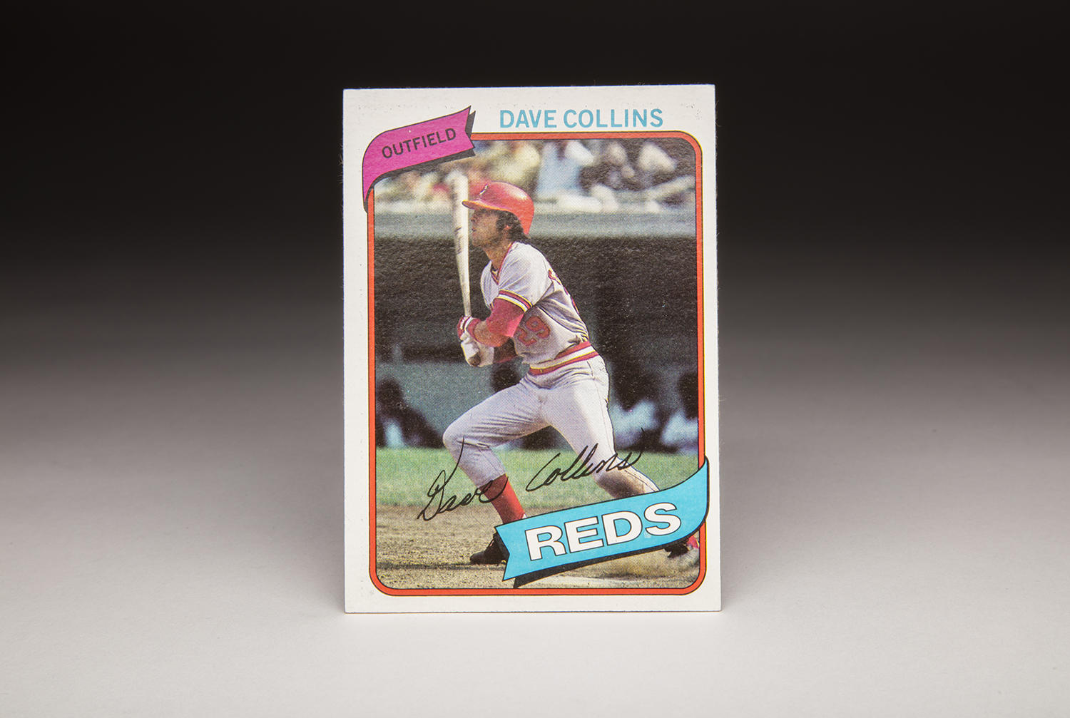 Dave Collins' 1980 Topps card depicts the full-charging, hard-hitting style of play that gave him the best years of his career with the Reds. (Milo Stewart Jr. / National Baseball Hall of Fame)