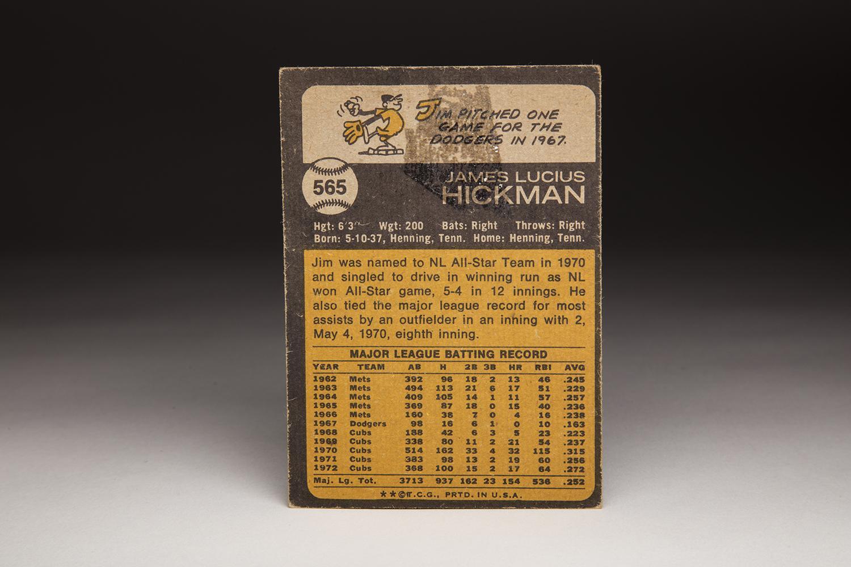 The reverse side of Jim Hickman's 1973 Topps card. (Milo Stewart Jr. / National Baseball Hall of Fame)