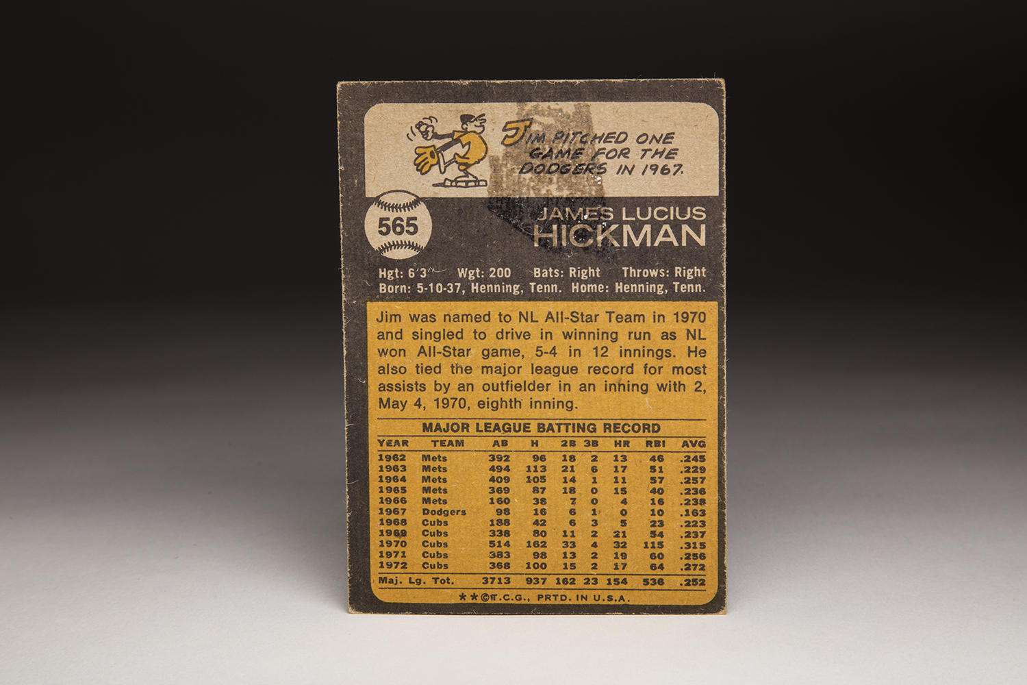 The reverse side of Jim Hickman's 1973 Topps card. (Milo Stewart Jr. / National Baseball Hall of Fame)