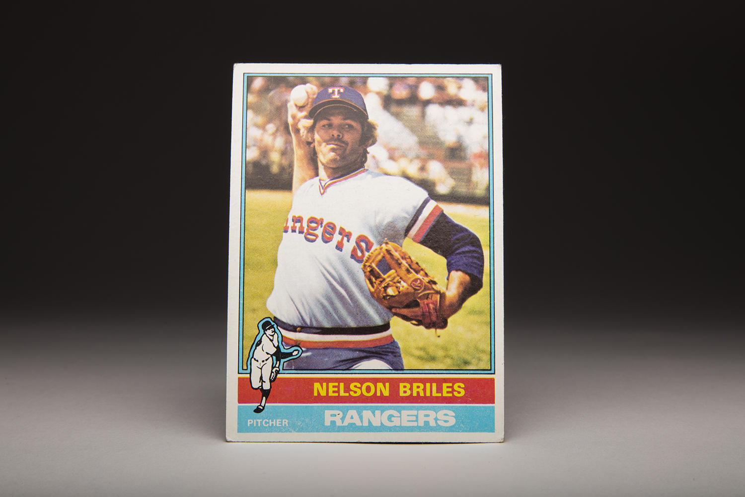 Nellie Briles' 1976 Topps card features a photo of Briles throwing on the sidelines, perhaps warming up in the bullpen. (Milo Stewart Jr. / National Baseball Hall of Fame)