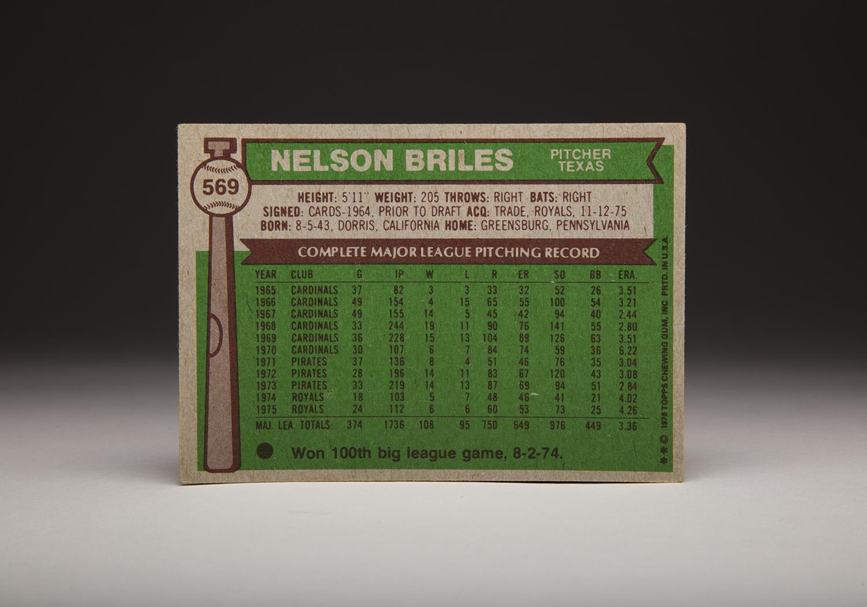 The reverse side of Nellie Briles' 1976 Topps card. (Milo Stewart Jr. / National Baseball Hall of Fame)