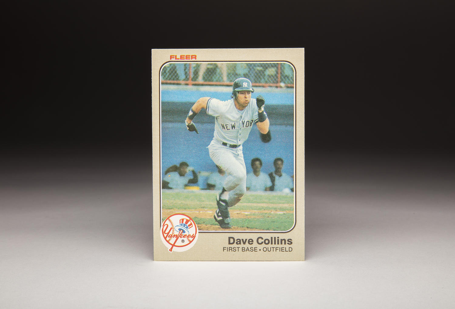 Shot during a Spring Training game, Dave Collins' 1983 Fleer card provides a glimpse of his consistent hustle. (Milo Stewart Jr. / National Baseball Hall of Fame)