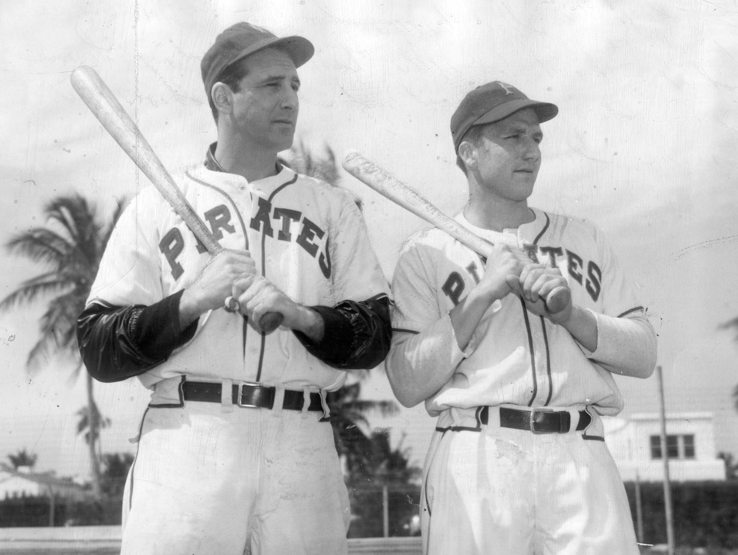 Hank Greenberg, left, and Ralph Kiner, right, were only teammates for the 1947 season, but Kiner credited Greenberg with making him a pull hitter and for boosting his confidence. (National Baseball Hall of Fame and Museum)