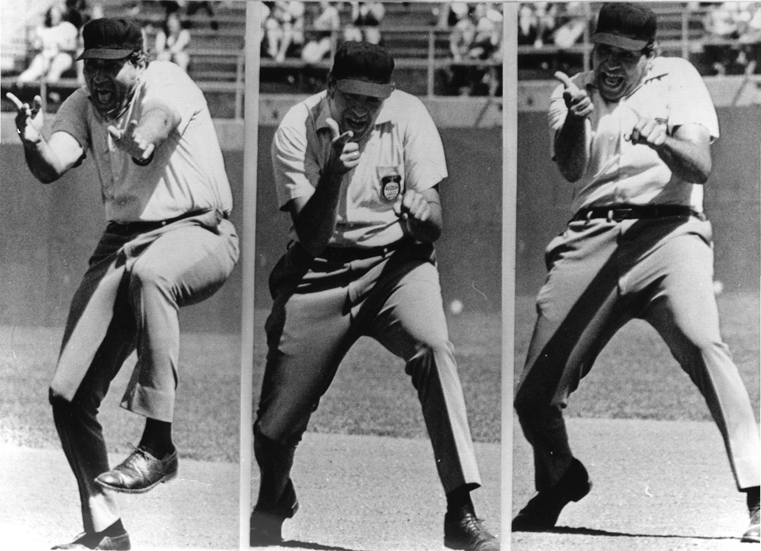 """Emmett Ashford not only inspired future generations of African-American umpires but also many umpires with flamboyant styles. Ron Luciano, who made his debut in 1969, also had a theatrical flair. <a href=""""http://collection.baseballhall.org/islandora/object/islandora%3A299447"""">PASTIME</a> (National Baseball Hall of Fame and Museum)"""