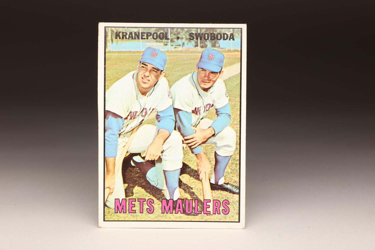 "In 1967, Topps issued a series of ""combination cards,"" featuring two players or more from the same team. Included in that series was this ""Mets Maulers"" card featuring Ron Swoboda and Ed Kranepool during Spring Training. (Milo Stewart Jr. / National Baseball Hall of Fame)"