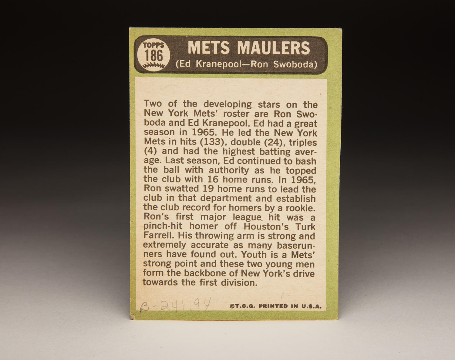 "The reverse side of Topps' 1967 ""Mets Maulers"" combination card. (Milo Stewart Jr. / National Baseball Hall of Fame)"