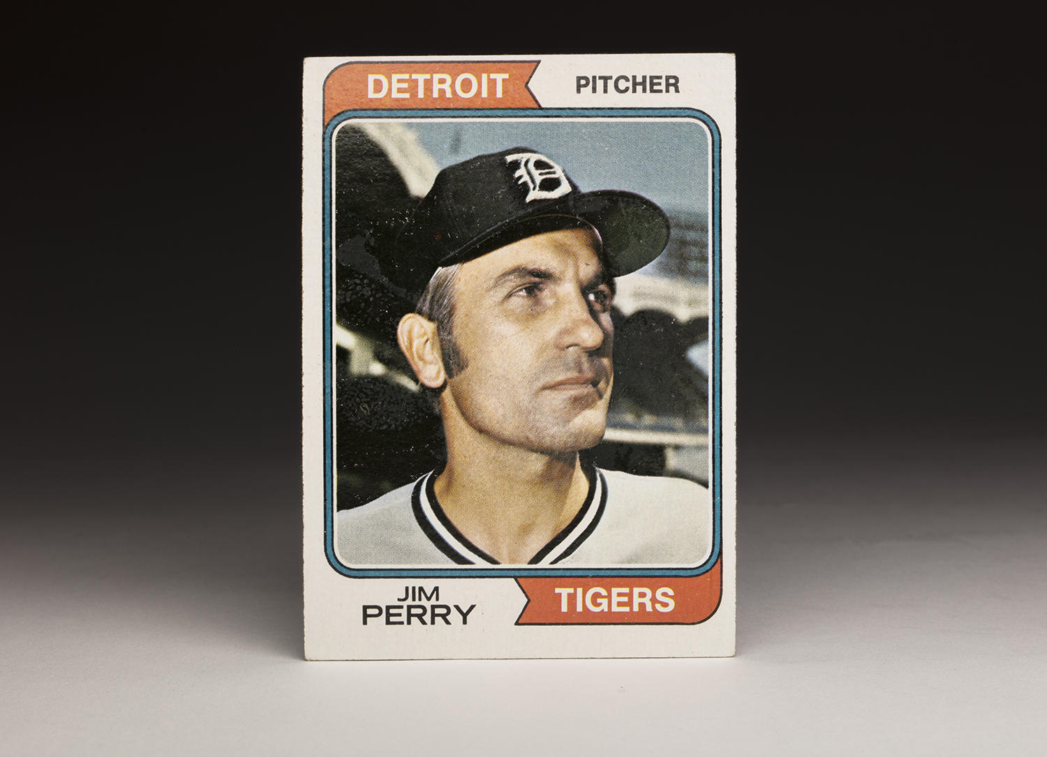 Jim Perry's 1974 Topps card shows him wearing the Detroit Tigers' colors, airbrushed over his previous colors with the Minnesota Twins. Perry would play for the Tigers for one season, in 1973. (Milo Stewart Jr. / National Baseball Hall of Fame)