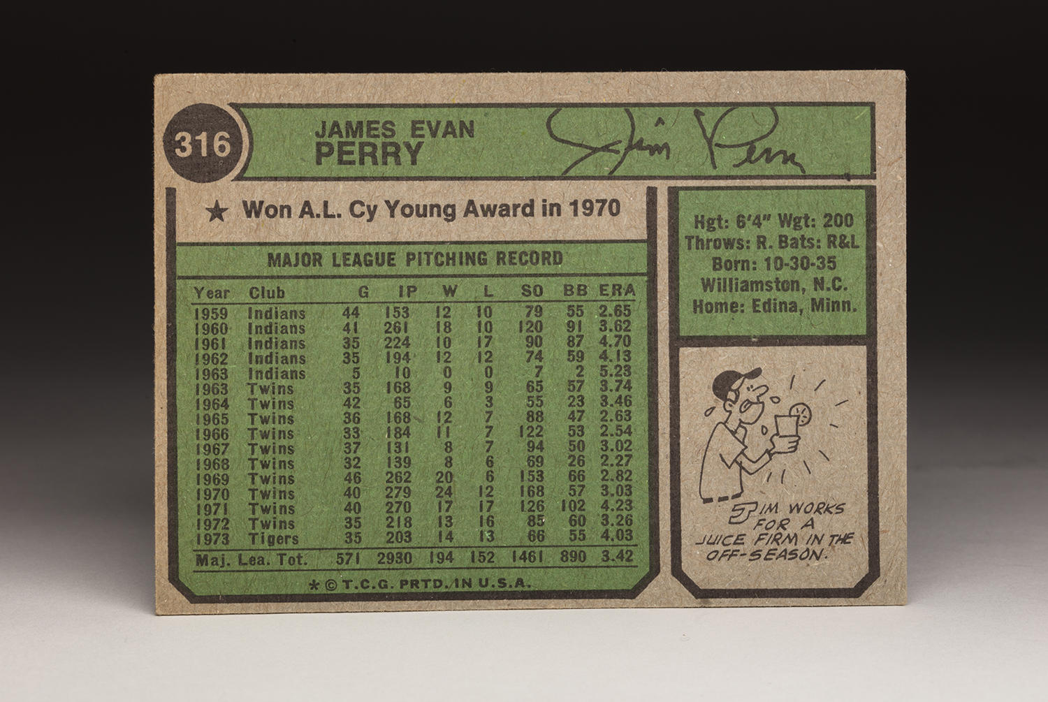 The reverse side of Jim Perry's 1974 Topps card. (Milo Stewart Jr. / National Baseball Hall of Fame)