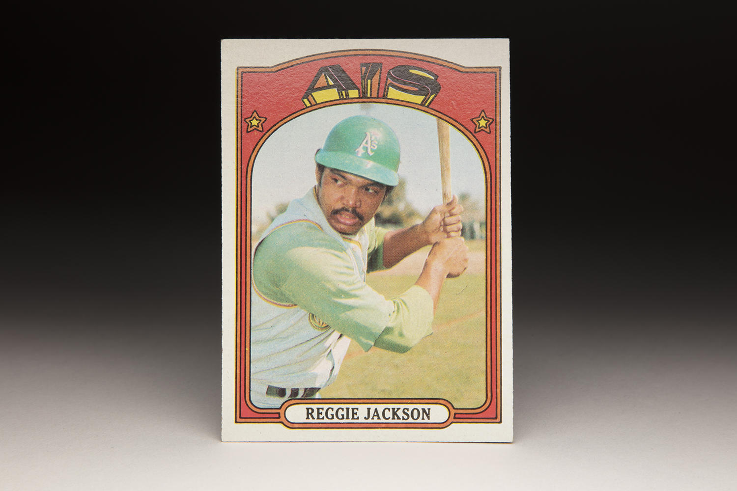 """The mustache Reggie Jackson sported in his 1972 Topps card sparks memories of Oakland's Mustache Gang, a trend started by Jackson which would develop into a promotion known as """"Mustache Day"""" by A's. (Milo Stewart Jr. / National Baseball Hall of Fame and Museum)"""