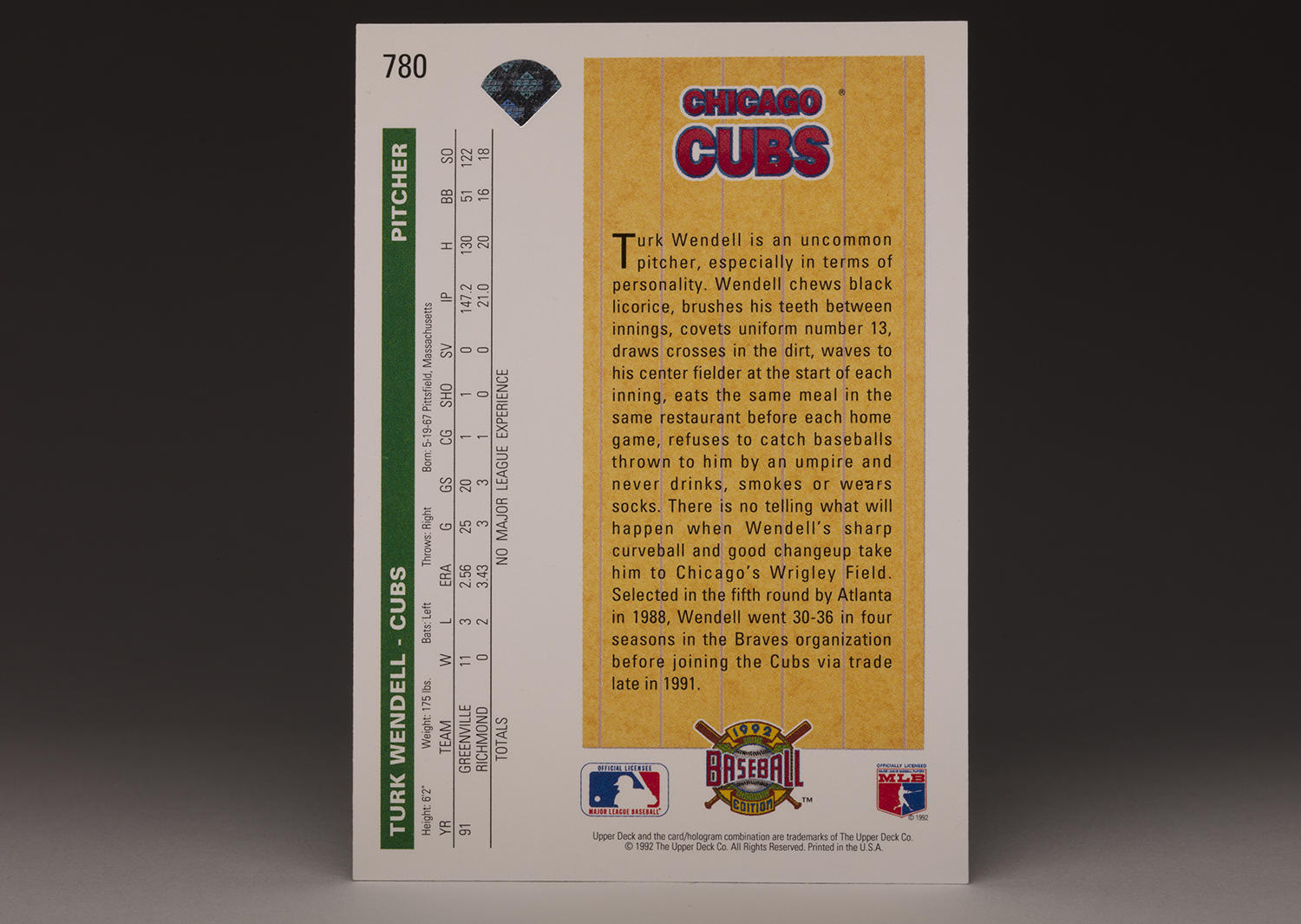 The reverse side of Turk Wendell's 1992 Upper Deck card. (Milo Stewart Jr. / National Baseball Hall of Fame and Museum)