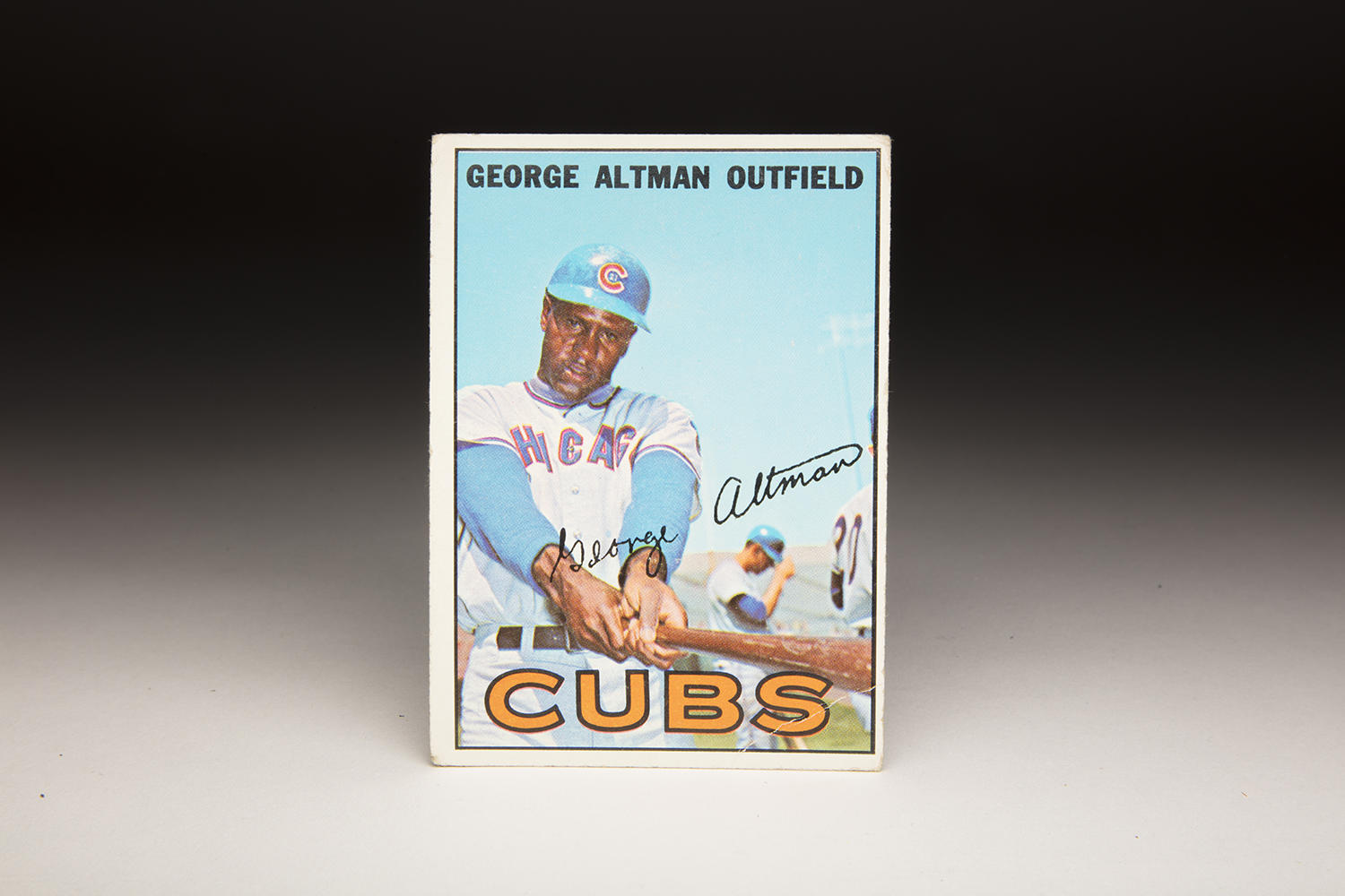 On George Altman's 1967 Topps card, the blue sky is enhanced by the blue helmet and the similarly blue sleeves of the Cubs' uniform. Altman played for the Cubs for seven seasons. (Milo Stewart Jr. / National Baseball Hall of Fame and Museum)
