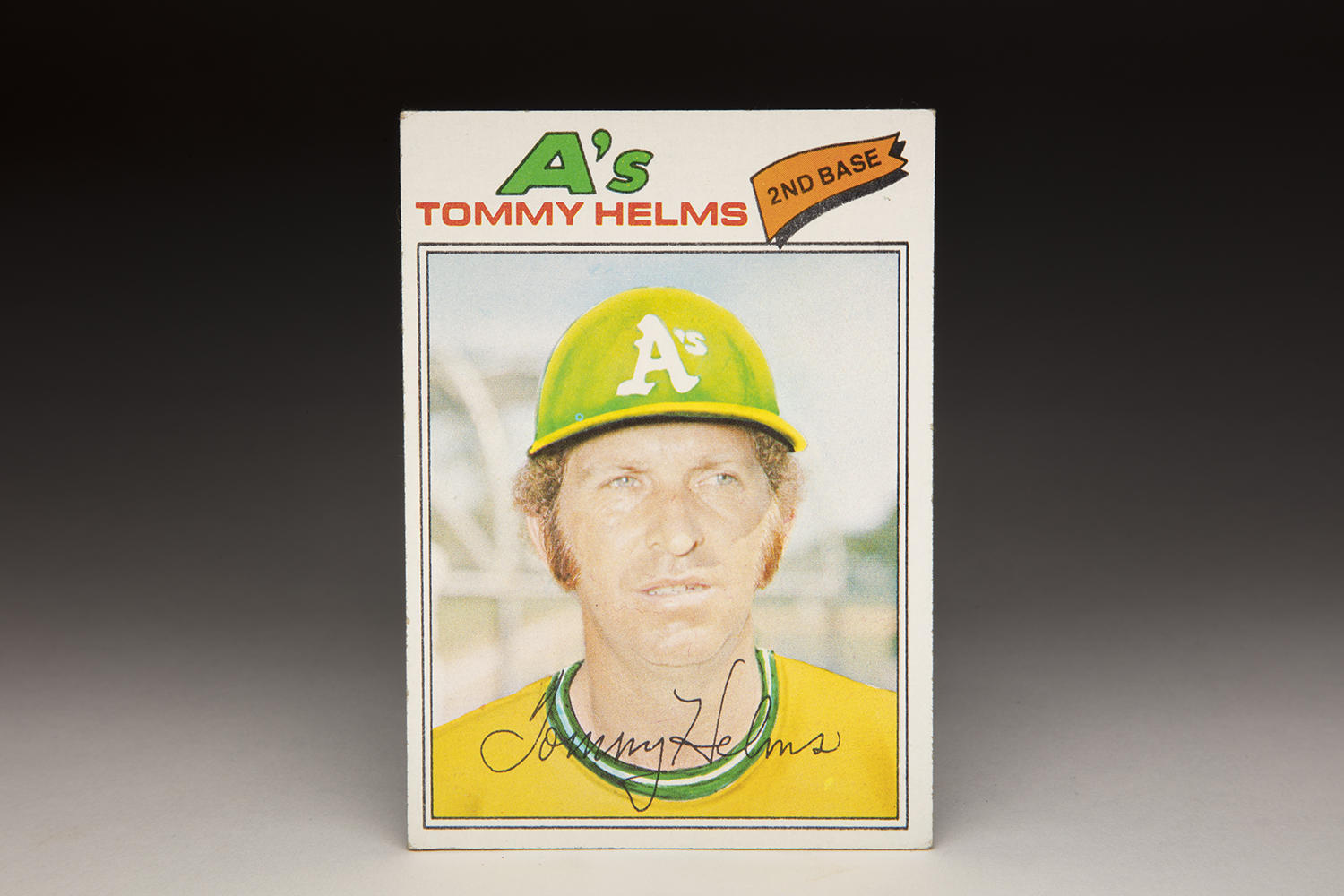 Although Tommy Helms appears in an Oakland Athletics uniform on his 1977 Topps card, he never played a regular season game for the team, as he was traded to the Pirates in March of that year. (Milo Stewart Jr.  / National Baseball Hall of Fame and Museum)
